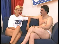 Dirty old dude test fucks a blonde