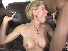 Sexy milf fucked by 2 black studs