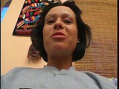 Horny brunette fucked on sofa