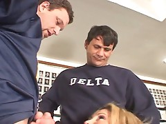 Kelly the coed does two fellow cocks