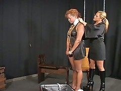 Interracial bound as lesbian blonde mistress tortures ebony slut