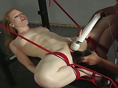 White chick gets big black dildo in cunt for machine fuck