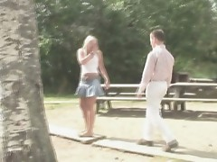 These amateur foreigner girls join hardcore group sex outdoors