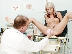Hot blonde babe vagina examination and nasty  enema