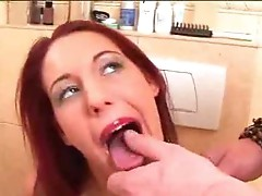 Pretty redhead gets a rough face fucking