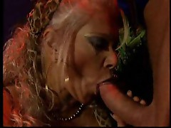 Fortune teller with big tits gives him a blowjob