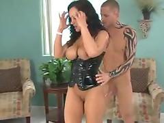 Girl in latex corset takes big dick