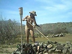 Nudist does a day's work