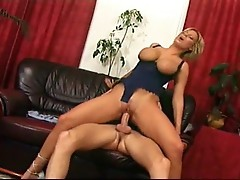 Amazing masturbating girl is filled with dick