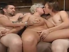 Chubby mature makes a hardcore threesome happen