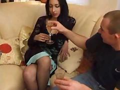 Skinny Arab strips and then he fucks her