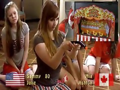 Cute girls play a carnival game