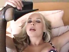 Sarah Vandella in lingerie blowing dude