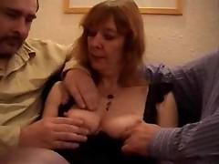 Mature British slut does a DP