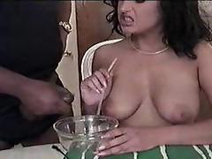 Girl eats sperm from a bowl