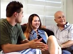 Cute girl watches a couple go at it