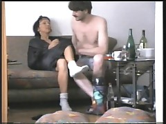 He fucks his wife on the couch