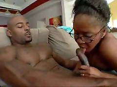 Black cock fucking her black pussy
