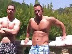 Dudes give head by the pool