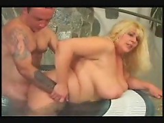 Fat girl fucked in the pool outdoors