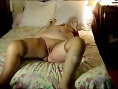 Super fat aunt sucks his dick