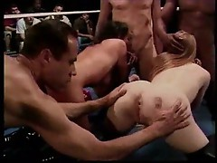 Wild orgy in the boxing ring
