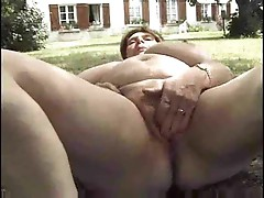 Fat mature rims him and gets fucked outdoors