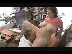 Chubby girl in couple fucked in home office
