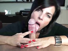 She licks his cock and somehow he cums