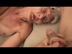 Horny granny takes out her dentures for porn