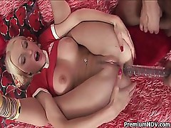 Blonde Gloria takes that dildo and hard dick into her ass