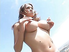 Babe in fishnet with nice tits gets fucked and gets a facial
