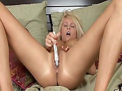 Blonde has some nice titties and gets off masturbating with toys