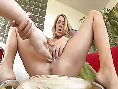 Amber Ashley puts a big dildo into her wet pussy to get off