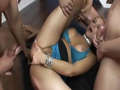 Beautiful blonde Sara Sloane does the dick chain of it all