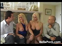 Nicoletta Blue and Nicki Hunter share time with two stiff cocks