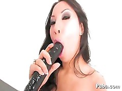 Asa Akira has found the dildo of her dreams and uses it well