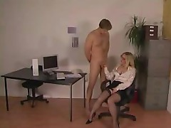 Domme gets her secreatary to do all the nasty things she wants