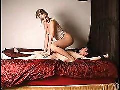 Nice looking gal is taking good care of his big hard cock