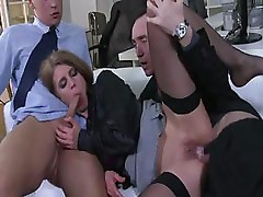 Business meeting turns into a mouth and hard cock meeting