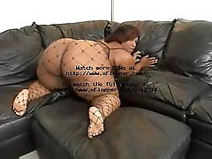 Big black beauty gets nailed by the white cock in her ass