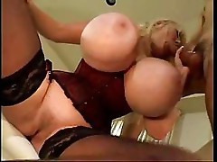 Kayla Kleevage has huge tits and gets fucked on the couch