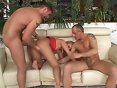 Big breasted Dora Venter takes on two stiff cocks in both holes