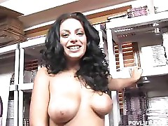 Brunette babe Angelica Raven sucks on a hard cock for a facial