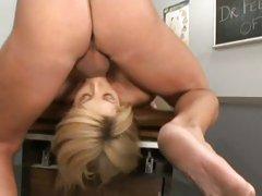 Horny busty babe Brooke Haven deep throats a massive hard cock