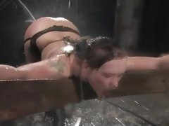 Naughty Katja Kassin gets tied up & blasted with water