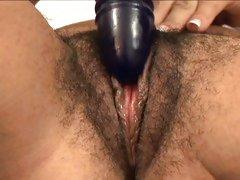 Sexy Ariella Ferrera toys her hairy fur burger