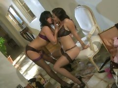 Tory and London enjoy some hot lesbian action while in sexy lingerie