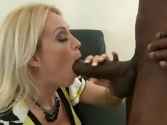 Meat eater Charlee Chase slurps on this black dick