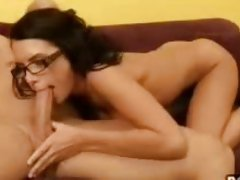 Sexy nerd Micah Moore sucking dick and riding cock with her glasses on